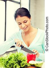 mulher bonita, cozinha