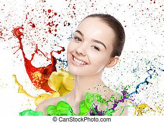 mulher bonita, cute, sorrizo, com, cor, respingo tinta