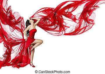 mulher bonita, dançar, sobre, voando, fluxo, experiência vermelha, vestido branco, vento