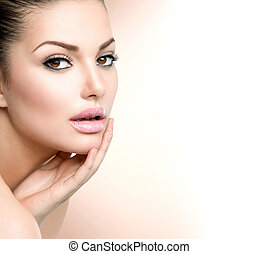 mulher bonita, dela, beleza, rosto, tocar, portrait., spa, menina