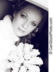 mulher bonita, dela, buquet, noiva, posar, retrato casamento, nupcial, dia