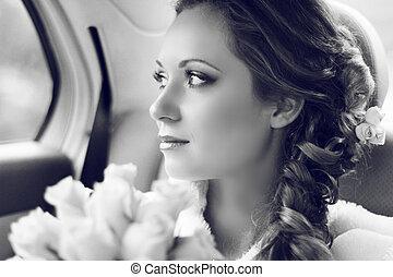 mulher bonita, dela, buquet, noiva, posar, retrato casamento...