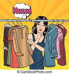 mulher bonita, dela, jovem, estouro, vetorial, ilustração, escolher, wardrobe., roupas, art.