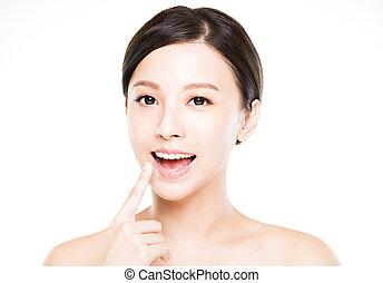 mulher bonita, dela, mostrando, jovem, dentes
