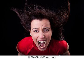 mulher bonita, dela, vento, fúria, jovem, cabelo, gritando