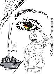 mulher bonita, delinear, artista, face., ilustração,...