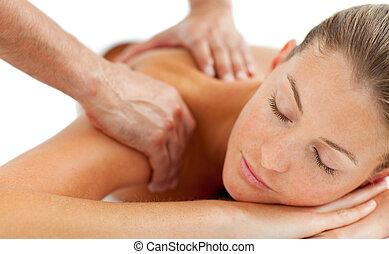 mulher bonita, desfrutando, um, massagem