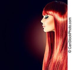 mulher bonita, direito, liso, cabelo longo, brilhante