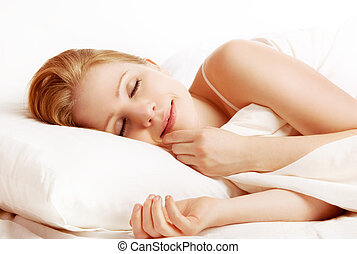 mulher bonita, dormir, e, sorrisos, em, seu, sono, cama