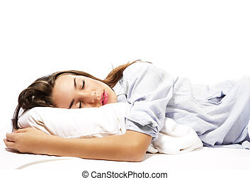 mulher bonita, dormir, fundo, branca, pijamas