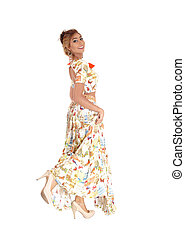 mulher bonita, dress., longo