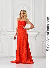 mulher bonita, dress., vermelho, longo