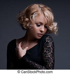 mulher bonita, elegante, foto, dress., moda, pretas, loura