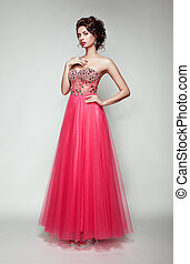 mulher bonita, elegante, moda, retrato, vestido