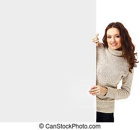 mulher bonita, em branco, -, sinal, segurando, billboard., ...