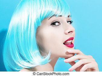 mulher bonita, em, um, luminoso azul, peruca