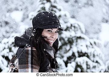 mulher bonita, em, um, nevado, dia
