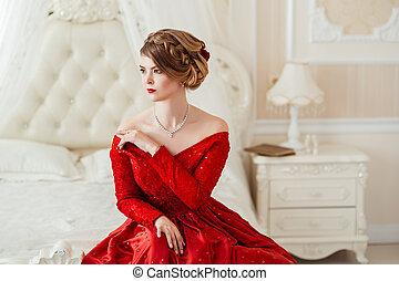 mulher bonita, em, um, vestido vermelho