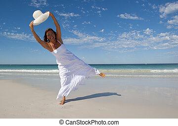 mulher bonita, em, vestido branco, em, b