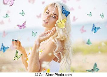 mulher bonita, entre, centenas, borboletas