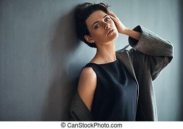 mulher bonita, escuro, moda, fundo, retrato