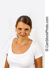 mulher bonita, estúdio, close-up, jovem