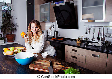 mulher bonita, estilo vida, saudável, cozinha, jovem