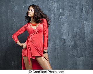 mulher bonita, excitado, retrato, vestido, vermelho