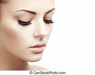mulher bonita, face., perfeitos, maquilagem