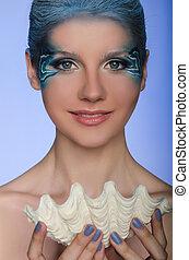 mulher bonita, face-up, sereia