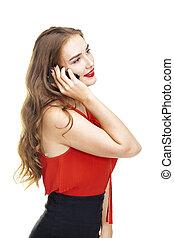 mulher bonita, falando, jovem, telefone pilha
