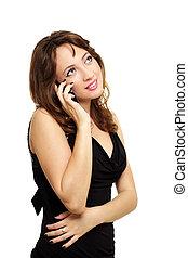 mulher bonita, falando, móvel, jovem, telefone