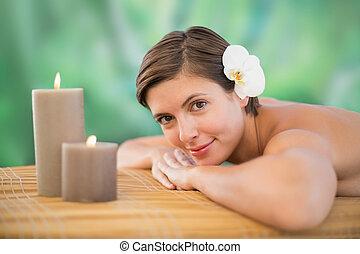 mulher bonita, fazenda, saúde, tabela, massagem