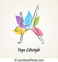 mulher bonita, fazendo, ioga