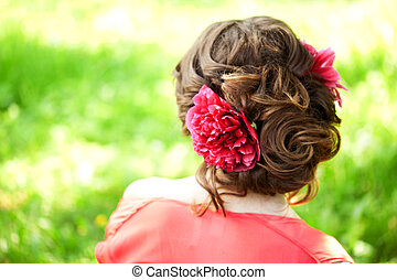 mulher bonita, flor, th