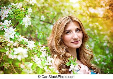 mulher bonita, flores