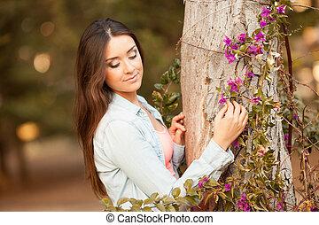 mulher bonita, flores, jovem, cheiros