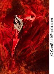 mulher bonita, fogo, waving, chama, seda, vestido, vermelho