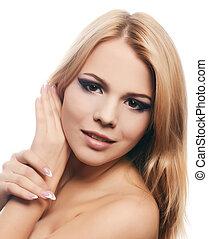 mulher bonita, foto, hair.isolated, longo, fundo, branca, woman., sensual
