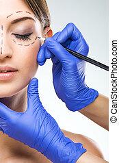 mulher bonita, foto, rosto meio, cirurgia, mãos, cirurgião,...