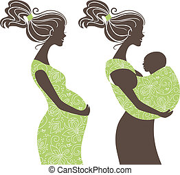 mulher bonita, funda, grávida, silhouettes., mãe, bebê,...