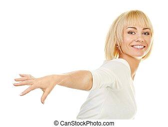 mulher bonita, fundo, isolado, loura, retrato, branca