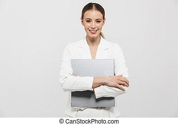 mulher bonita, fundo, parede, sobre, isolado, espantoso, posar, segurando, branca, folder.