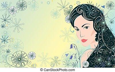 mulher bonita, fundo