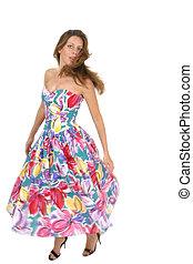 mulher bonita, girar, em, coloridos, vestido, 2