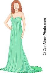 mulher bonita, gown., vetorial