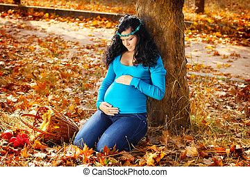 mulher bonita, grávida, outono, parque, ao ar livre