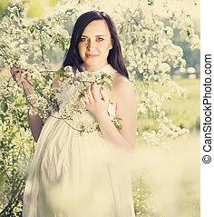 mulher bonita, grávida, retrato, vestido branco