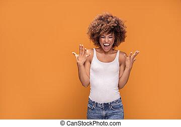 mulher bonita, grande, americano, africano, smile., feliz