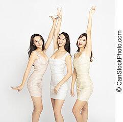 mulher bonita, grupo, dançar, jovem, excitado